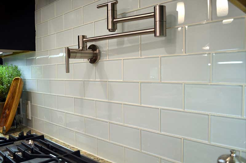 White Glass Subway Tile Backsplash Large